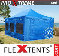 Carpa plegable FleXtents Xtreme 4x6m Azul, incl. 8 lados