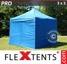 Carpa plegable FleXtents PRO 3x3m Azul, incl. 4 lados