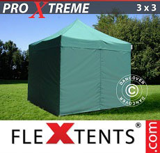 Carpa plegable FleXtents Xtreme 3x3m Verde, Incl. 4 lados