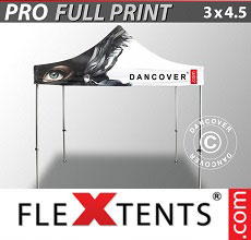 Carpa plegable FleXtents PRO con impresión digital completa, 3x4,5m
