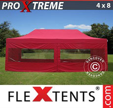 Carpa plegable FleXtents Xtreme 4x8m Rojo, Incl. 6 lados