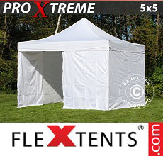 Carpa plegable FleXtents Xtreme 5x5m Blanco, Incl. 6 lados