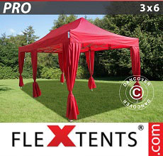 Carpa plegable FleXtents PRO 3x6m Rojo, incl. 6 cortinas decorativas