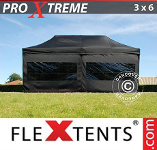 Carpa plegable FleXtents Xtreme 3x6m Negro, Incl. 6 lado
