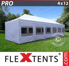 Carpa plegable FleXtents PRO 4x12m Blanco, Incl. lados