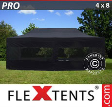 Carpa plegable FleXtents PRO 4x8m Negro, incl. 6 lados