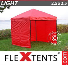Carpa plegable FleXtents Light 2,5x2,5m Rojo, Incl. 4 lados