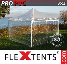 Carpa plegable FleXtents PRO 3x3m Transparente, Incl. 4 lados