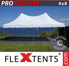 Carpa plegable FleXtents PRO Peak Pagoda 4x8m Blanco
