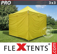 Carpa plegable FleXtents PRO 3x3m Amarillo, Incl. 4 lados