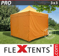 Carpa plegable FleXtents PRO 3x3m Naranja, Incl. 4 lados