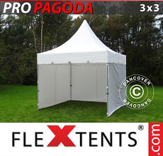 Carpa plegable FleXtents PRO Peak Pagoda 3x3m Blanco, incluye 4 muros laterales