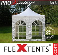 Carpa plegable FleXtents PRO Vintage Style 3x3m Blanco, Incl. 4 lados