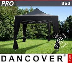 Flextents Carpas Eventos PRO 3x3m Negro, incl. 4 cortinas decorativas