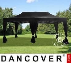 Flextents Carpas Eventos PRO 3x6m Negro, incluye 6 cortinas decorativas