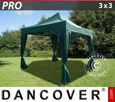 Flextents Carpas Eventos PRO 3x3m Verde, incl. 4 cortinas decorativas