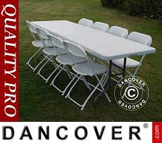 Conjunto para fiesta, 1 mesa plegable (242cm) + 8 sillas & 8 cojines para el