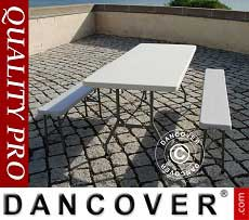 Conjunto para fiesta, 1 mesa plegable (182 cm) + 2 bancos plegables (183 cm)