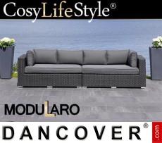 Sofá lounge de poliratán, 2 módulos, Modularo, Negro