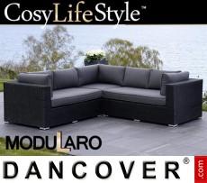 Sofá lounge de poliratán, 3 módulos, Modularo, Negro