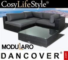 Conjunto lounge de poliratán I, 4 módulos, Modularo, Negro