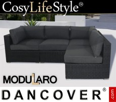 Sofá lounge de poliratán, 4 módulos, Modularo, Negro