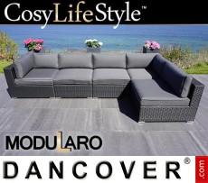 Sofá lounge de poliratán I, 5 módulos, Modularo, Negro