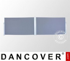 Toldo lateral retráctil, doble, 1,6x6m, color gris oscuro