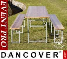 Set de mesas cerveceras, 240x60x76 cm, madera clara