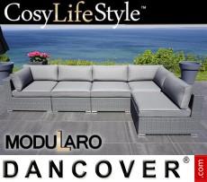 Sofá lounge de poliratán I, 5 módulos, Modularo, Gris