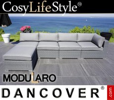 Sofá lounge de poliratán II, 5 módulos, Modularo, Gris