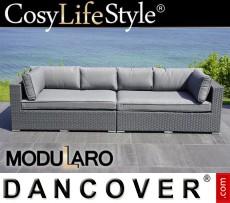 Sofá lounge de poliratán, 2 módulos, Modularo, Gris