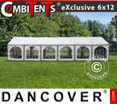 Carpa para fiestas, Exclusive CombiTents® 6x12m 4 en 1, Blanco/Gris