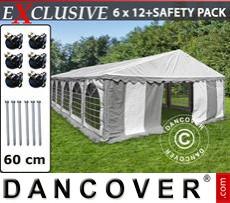 Carpa para fiestas Exclusive 6x12m PVC, Gris/Blanco