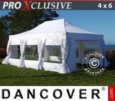 Carpa para fiestas PRO 4x6m Blanco, incl. 8 lados & cortinas decorativas