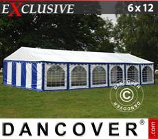 Carpa para fiestas Exclusive 6x12m PVC, Azul/Blanco