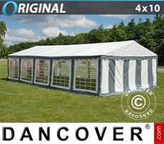 Carpa para fiestas Original 4x10m PVC, Gris/Blanco
