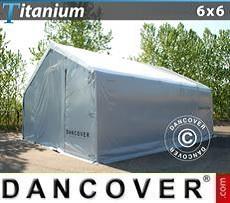 Carpa de almacén grande Titanium 6x6x3,5x5,5m, Blanco / Gris