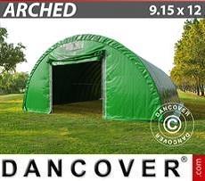 Carpa de almacén 9,15x12x4,5m, PVC, Verde