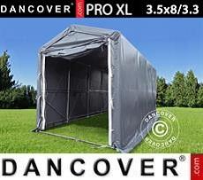Carpa grande de almacén PRO XL 3,5x8x3,3x3,94m, PVC, Gris