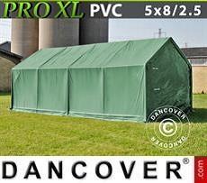 Carpa grande de almacén PRO 5x8x2,5x3,3m, PVC, Verde