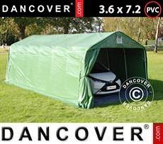 Carpa garaje PRO 3,6x7,2x2,68m PVC, con cubierta de terreno, Verde/Gris