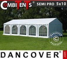 Carpa para fiestas, SEMI PRO Plus CombiTents® 5x10m, 3 en 1, Blanco