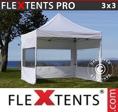 Carpa plegable FleXtents PRO 3x3m Blanco, incl. 4 lados