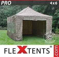 Carpa plegable FleXtents PRO 4x6m Camuflaje, Incl. 8 lados