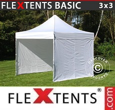 Carpa plegable FleXtents Basic 300, 3x3m Blanco, Incl. 4 lados