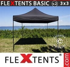 Carpa plegable FleXtents Basic v.2, 3x3m Negro