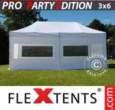 Carpa plegable FleXtents PRO 3x6m Blanco, Incl. 6 lados