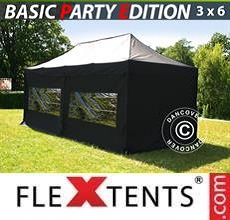 Carpa plegable FleXtents Basic v.2, 3x6m Negro, Incl. 6 lados