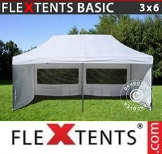 Carpa plegable FleXtents Basic v.2, 3x6m Blanco, Incl. 6 lados